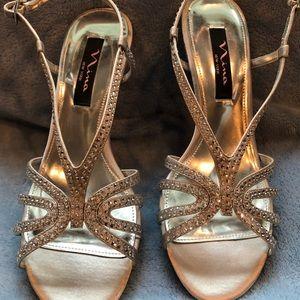 Nina silver rhinestoned heels